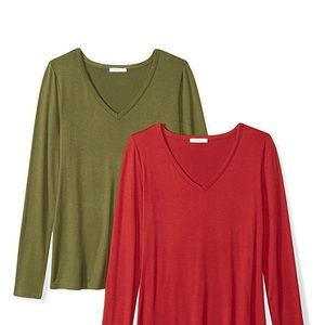 Daily Ritual Women's Jersey V-Neck T-Shirt 2-Pack